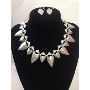 Silver Plated Hammered Tribal Choker Necklace Set